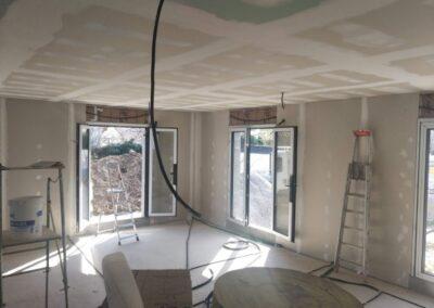 Chantier Neuf : Préparation avant peinture plafond : Bande à joints et ponçage