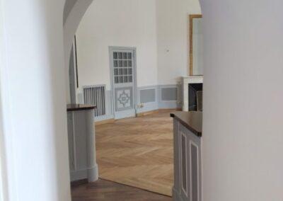 Mise en peinture terminée d'un couloir