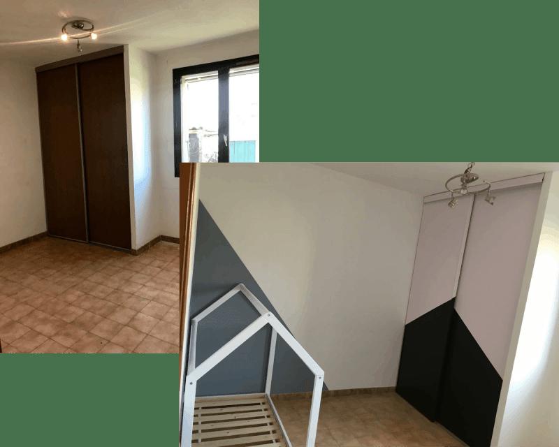 Rénovation d'une chambre d'enfant : peinture géométrique pour un petit garçon. AM PEINTURE, spécialiste peinture et décoration