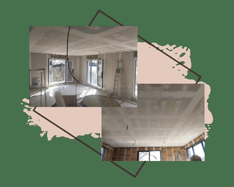 Am Peinture chantiers neufs : Pose de bande à joints et ratissage avant mise en peinture d'un plafond