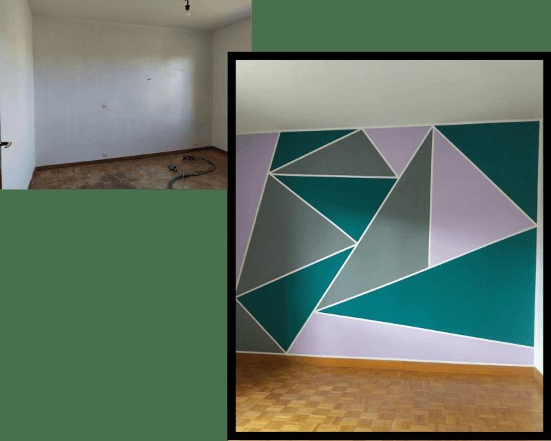 Relloking d'une chambre : peinture décorative géométrique rose gris et vert