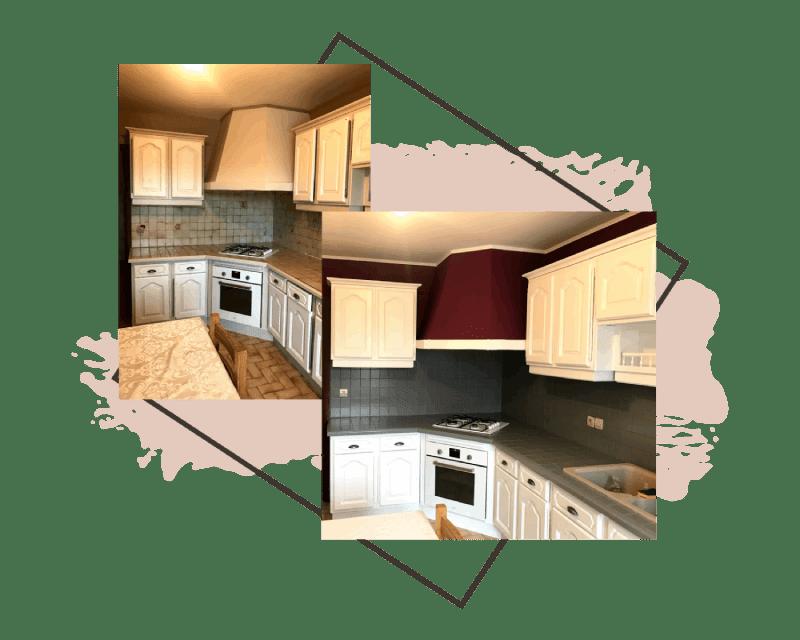 AM PEINTURE : Rénovation de vos intérieures : remise au neuf d'une cuisine entière : peinture, béton ciré, crédence